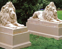 Molded Pedestal - Frontgate traditional-garden-statues-and-yard-art