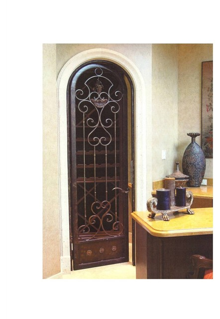 Wrought Iron Wine Cellar Arched Door mediterranean-interior-doors