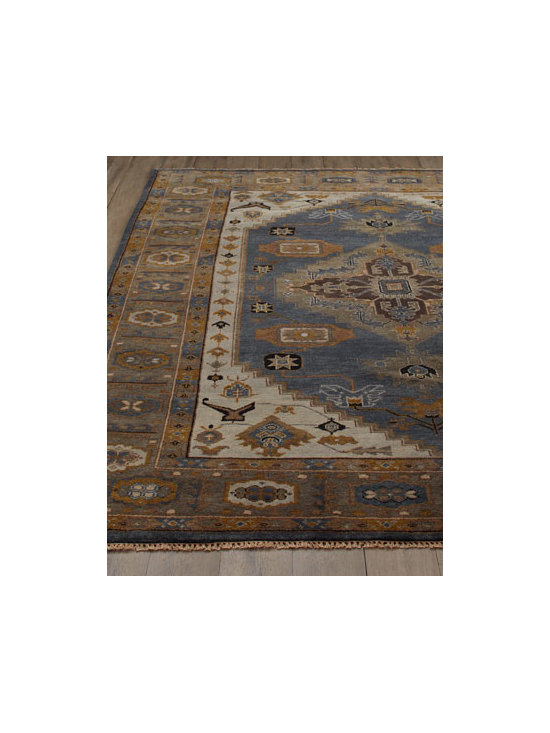 "Horchow - ""Michener Blue"" Rug - An artistic interplay, this handmade rug features a variety of designs and shapes in both contrasting and complementary hues for dramatic visual impact. Hand knotted of wool. Sizes are approximate. Imported. See our Rug Guide for tips on how to...."