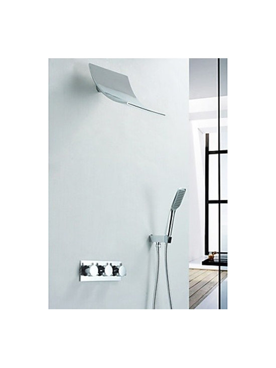 Shower Faucets - Contemporary Shower Faucet with Rain Shower Head & Hand Shower--FaucetSuperDeal.com