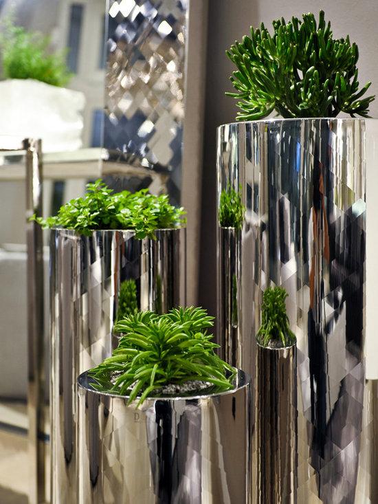 Diamante Design - Diamante - Kaleid Steel Vases - Italy - Gorgeous hand made vases with hand cut diamond style stainless steel frame. Three Sizes (price varies).