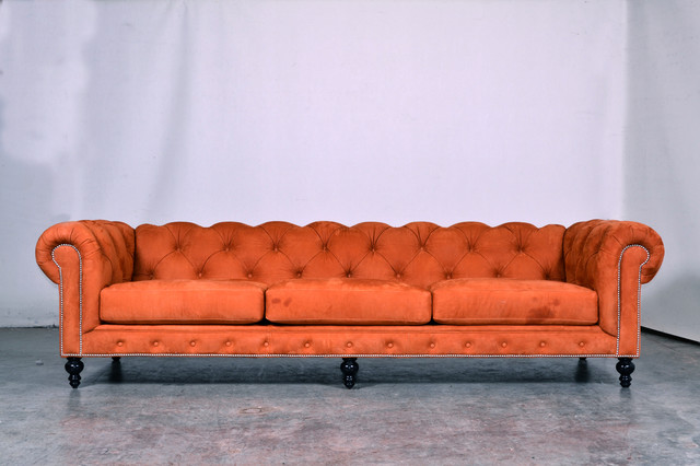 Orange Nubuck Chesterfield Sofas charlotte by COCOCO Home, inc