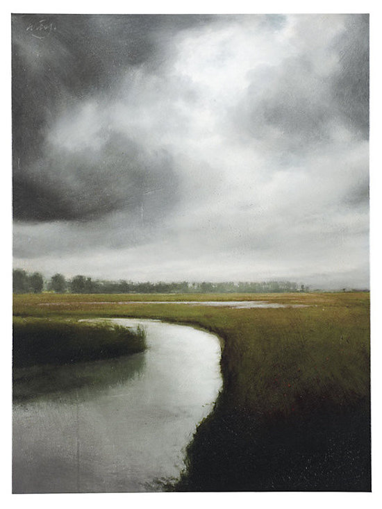 """Ballard Designs - Storm Over The Marsh Art Stretched Canvas - Digitally printed. Gallery-wrapped canvas. Hand brushed acrylic finish. When he looks to the world for inspiration, award-winning Atlanta artist, James McLaughlin Way says, """"I become lost amidst the infinite number of possibilities and impressions."""" In this moody, realistic landscape, you can almost feel the storm clouds gathering over the salt marsh.Storm Over the Marsh Print features: . . . Stretched Canvas features:Fine art giclee reproduction on canvas stretched over wood frame. Hand applied acrylic finish produces the texture of the original. Glass Coat Canvas features:Fine art giclee reproduction on canvas stretched over wood frame. Epoxy, resin-based glass coat application produces a smooth and glossy, glass-like finish. Durable and protective finish acts as a moisture-resistant protective sealer, protecting from warping or sagging, ensuring the lasting beauty of the artwork."""