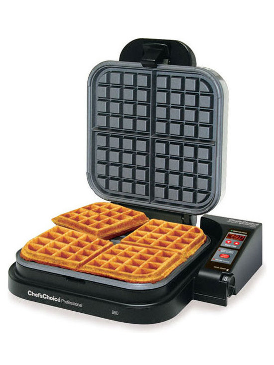 """Chef's Choice - Chef's Choice Belgian WafflePro 850 - This family size, commercial quality Belgian waffle maker is in a class by itself. In just 90-120 seconds you can bake 4 delicious deep pocket, restaurant-thick Belgian waffles. The breakthrough QuadPlus baking system lets you independently adjust baking time and temperature for truly customized waffles...fast bake for a crispy exterior and soft, oven fresh interior or slow bake for a crunchy, uniform texture. The specially engineered waffle plate design guarantees optimal batter distribution and even baking so there's no need to flip. The Belgian WafflePro offers a high quality, non-stick griddle surface, a waffle ready beeper, ultra-quick temperature recovery for continuous baking, an easy-clean overflow channel and a built-in cord storage compartment. Convenient features such as the automatic countdown timer, Sleep-Mode and fast heat-up, quick recovery allow you to effortlessly bake and then """"take a break"""" so you can sample your taste sensations! Recipes are included. One-year limited warranty."""
