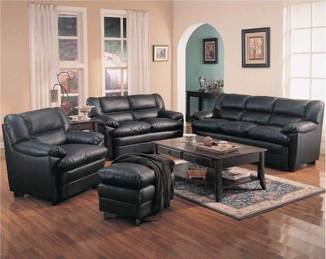 Coaster Casual Black Leather Sofa Couch Loveseat Arm Chair