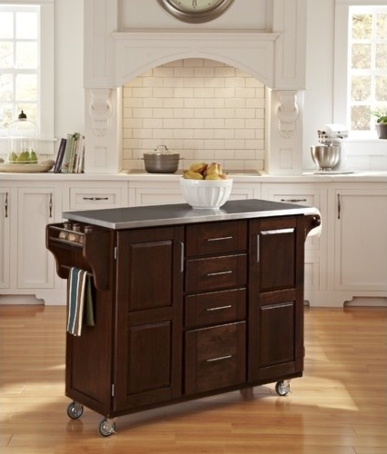 cherry kitchen island cart with stainless steel top
