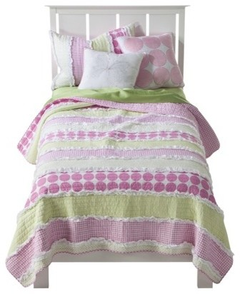 Maddie Quilt Set Pink Contemporary Kids Bedding By