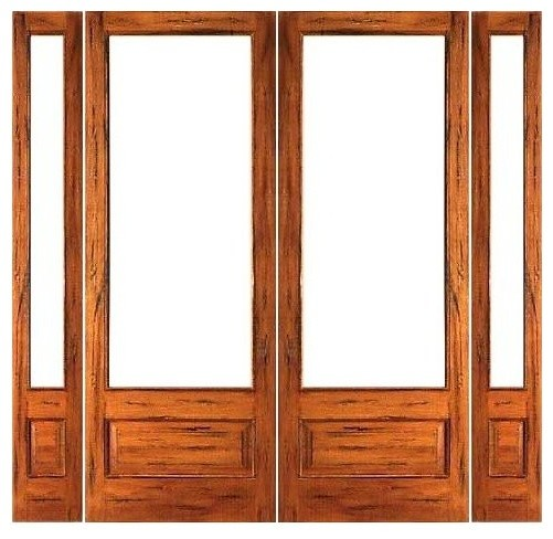 Pre hung rustic 1 lite p b french solid ig glass double for French doors with sidelights