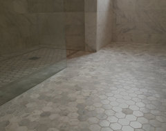 White Marble Curbless Shower - Vancouver West Side traditional bathroom