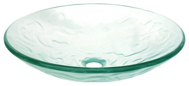 Clear Embossed Waves Glass Vessel Sink contemporary bathroom sinks