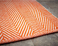 Chalet Herringbone Flatwoven Orange Rug contemporary rugs