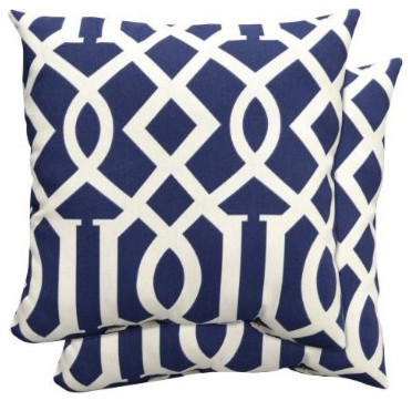 2-Piece Toss Pillow Set in Blue Fretwork traditional outdoor pillows