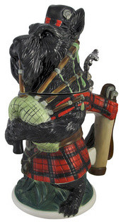 Black Scottish Terrier Bagpiper Porcelain Stein contemporary-wine-and-bar-tools