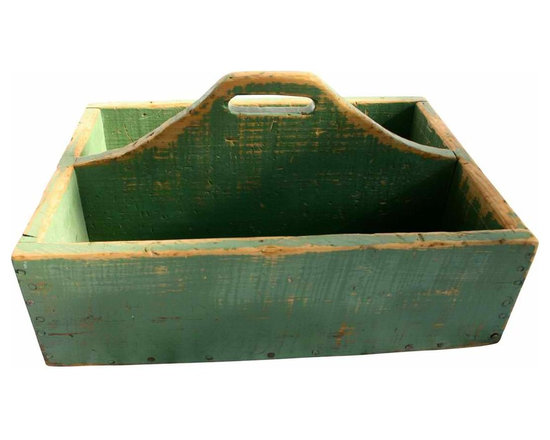 Wood Carrier - Great vintage carrier or tool box in original green paint.  These are perfect for storing magazines, books, garden supplies, herb pots.