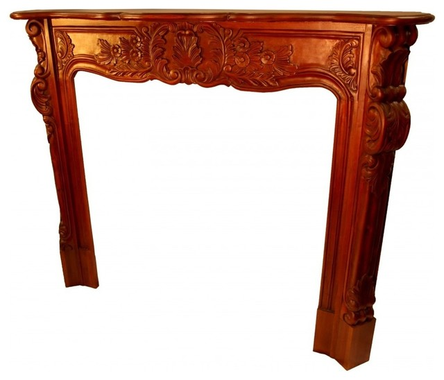 Fire Place Mantel Hand Carved Solid Mahogany - Midcentury - Fireplace Mantels - by Oriental ...