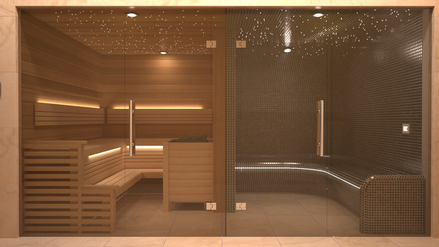 adjacent sauna and steam room. Black Bedroom Furniture Sets. Home Design Ideas