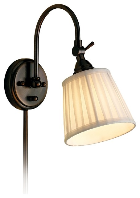 Traditional Blaine Pleated Shade Bronze Finish Adjustable Wall Lamp traditional-wall-lighting