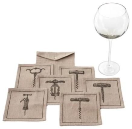 Corkscrew Fabric Coasters modern-wine-and-bar-tools