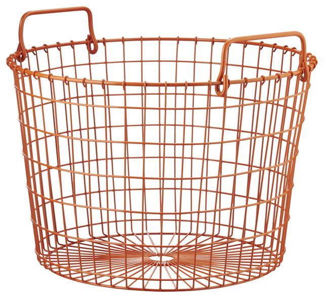 Orange Round Wire Basket Contemporary Baskets By