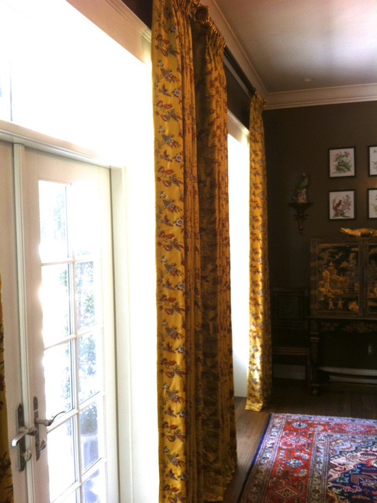 Dining Room - Lush silk stationary side panels.  Design by Michael Meloy.  Installation by Curtain Pros.