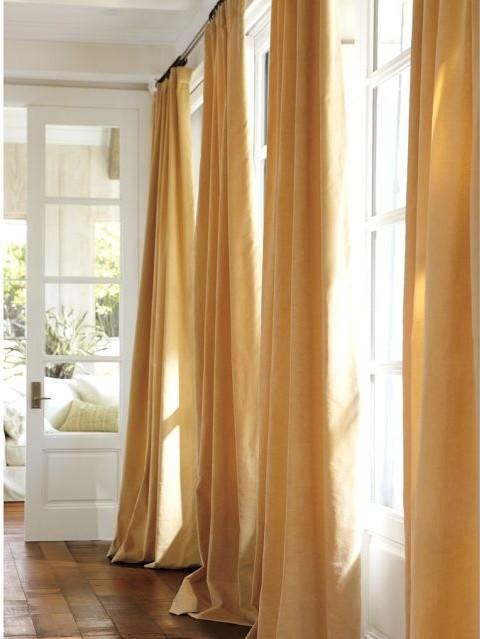 Velvet Drape Wheat Modern Curtains By Pottery Barn