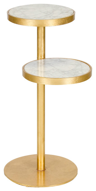 Worlds away swivel end table gold small white marble for Small gold side table