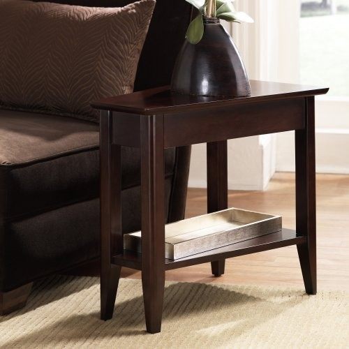The Cosmopolitan Wedge Chairside End Table has a unique shape and slim design th contemporary side tables and accent tables