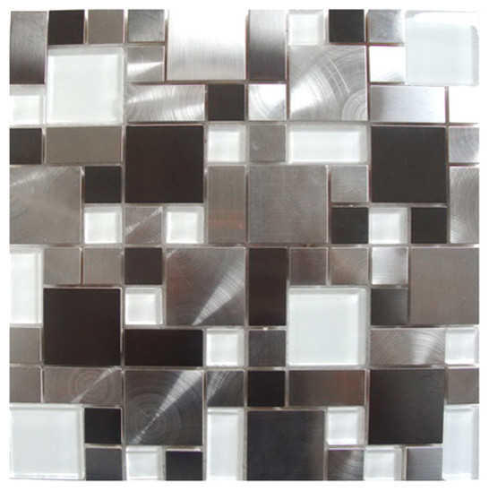 Modern Cobble Stainless Steel with White Glass Tile, Sheet contemporary-tile