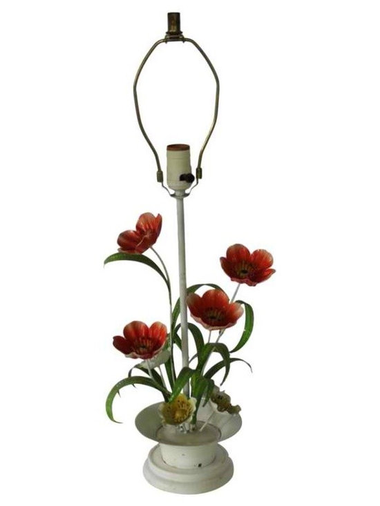1960's Metal Flower Lamp - Funky and fun!  Perfect words to describe this wonderful, whimsical metal flower lamp.  Very good condition - small areas of patina and paint loss just add to its charm.  Would be fantastic in a sun room, little girl's room or the living room of a very cute and funky gal!