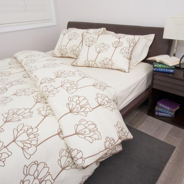 Floral Print Designer Duvet Cover, The Mariposa Beige modern-duvet-covers-and-duvet-sets