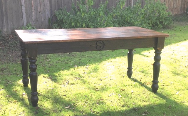 Monogrammed Family Farm Table Made with Reclaimed Barn  : traditional dining tables from www.houzz.com size 640 x 394 jpeg 90kB
