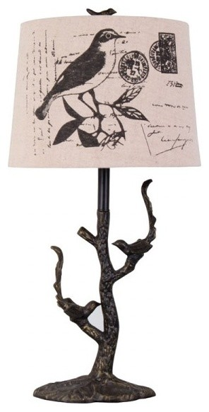 Cast Iron Branch Bird Table Lamp Traditional Table
