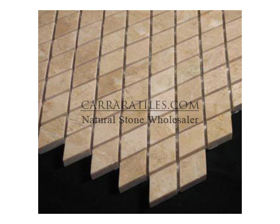 Crema Marfil Marble Diamond Mosaic Tile Polished - Crema Marfil Diamond (rhomboid)Marble Mosaic Tile. Available in polished finish, premium grade diamond (rhomboid) mosaic tile is perfect for both residential and commercial projects. Diamond (rhomboid) Mosaic Tiles are mainly preferred as floor tiles for their clean, aesthetic qualities. A large selection of coordinating products are available, including Crema Marfil basketweave mosaics, Crema Marfil herringbone mosaics, Crema Marfil hexagon mosaics, 3x6 Crema Marfil marble subway tiles, 12x12 Crema Marfil marble tiles, 4x4 Crema Marfil marble tiles, Crema Marfil borders, Crema Marfil moldings and Crema Marfil baseboards