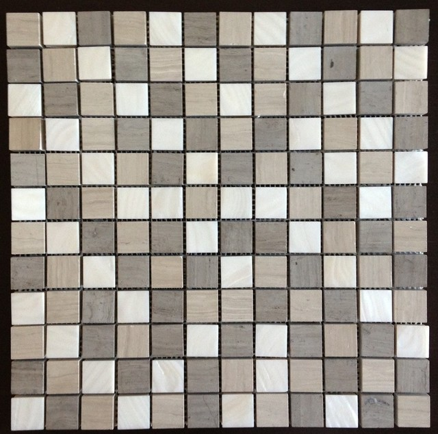 """Polished White Mother of Pearl & Haisa Marble Organic Blend 1"""" x 1"""" Squares Tile contemporary-tile"""