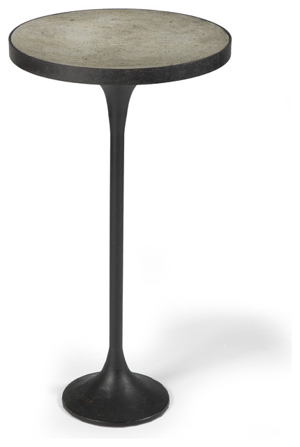Kagan Industrial Loft Round Cast Iron Drink End Table transitional-side-tables-and-end-tables