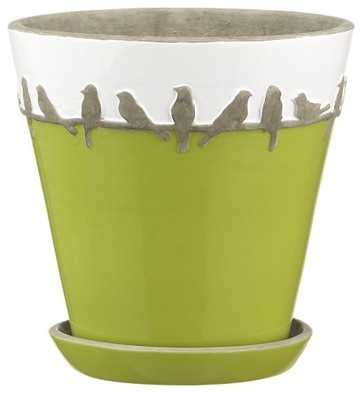 Perch Pot With Saucer contemporary-indoor-pots-and-planters