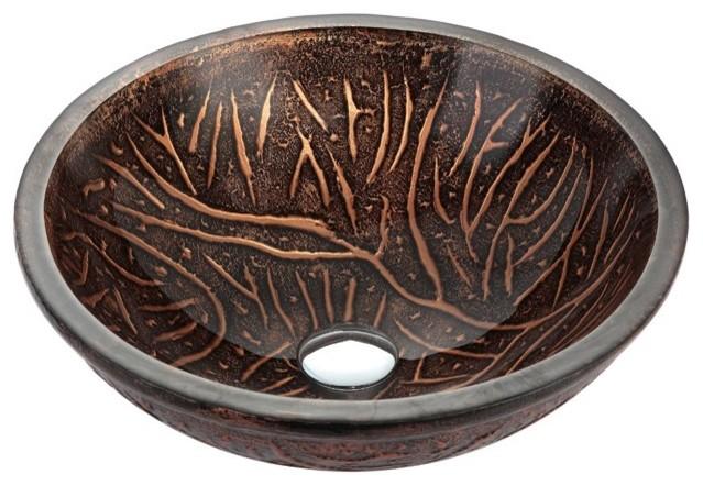 New 12 Modern Contemporary Bathroom Faucet Vessel Sink: Kraus GV-610-19mm Copper Forest Glass Vessel Sink