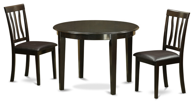 3 pc kitchen table set small round table and 2 kitchen for Traditional kitchen table sets