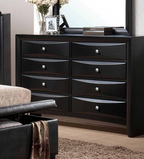Poundex Furniture Black Faux Leather Dresser F4571 Contemporary Dressers Chests And