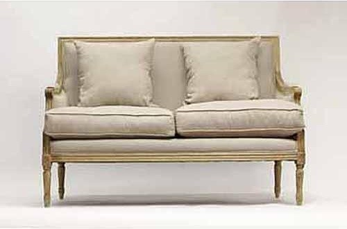 Zentique Louis Sette in Natural Linen traditional-loveseats