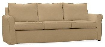 Cameron Roll Arm Slipcovered Grand Sofa, Polyester Wrap Cushions, Twill Caramel traditional-sofas