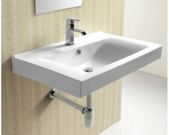 "Caracalla - Sleek Modern Rectangular Wall Mounted Bathroom Sink - This wall mounted sink is designed in Italy by Caracalla with a modern style look. The rectangular white ceramic bathroom sink includes overflow. It has the option for a single faucet hole (as shown), or 3 holes. Sink dimensions: 32.28"" (width), 8.27"" (height), 19.69"" (depth)"