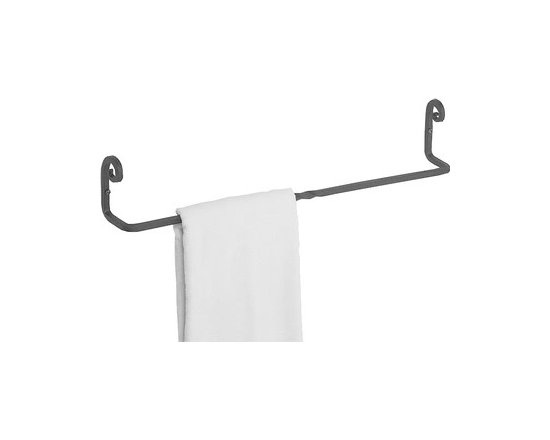 "Black Wrought Iron Towel Bars 18"" long - These towel bars are protected by our exclusive Renovator's Supply Black finish. Pigtail towel bar is crafted of heavy-duty iron stock in our own New England forge."