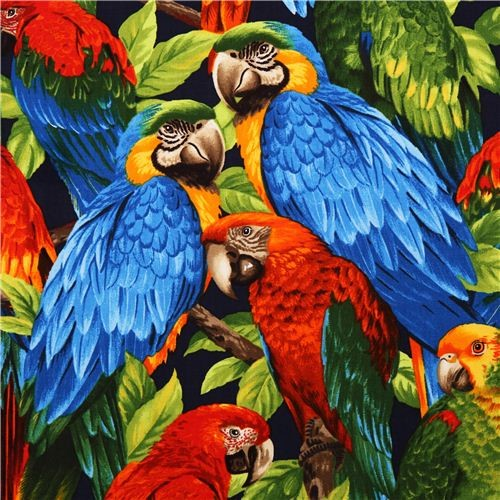 Colourful Tropical Bird Fabric Parrot Robert Kaufman Fabric