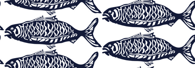 School O Fish eclectic upholstery fabric