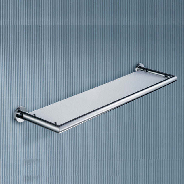 Frosted Glass Bathroom Shelf With Chrome Frame Contemporary Bathroom Cabinets And Shelves