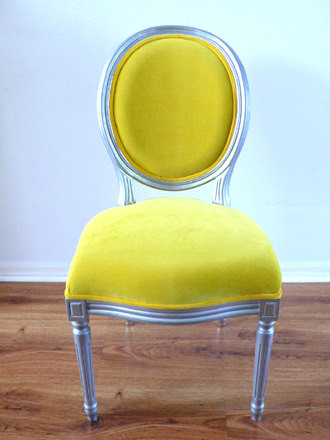 Antique Armless Silver Louis Yellow Velvet Chair By metrosofa traditional-armchairs-and-accent-chairs