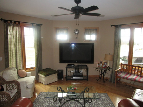 Odd shaped great room needs better furniture and design ideas - Great room furniture ideas ...