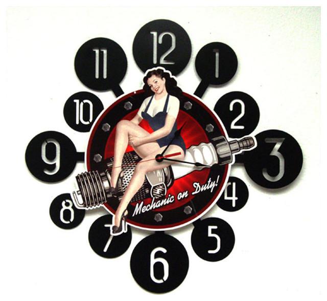 Spark Plug Pinup Vintage Clock - Modern - Clocks - by Man Cave Kingdom