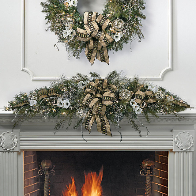 Regency pre decorated christmas mantel swag traditional